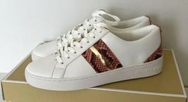 New Michael Kors Catelyn Stripe Lace Up Nappa PU sneakers size 5.5 White... - $98.01