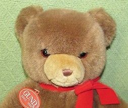 Vintage GUND KARITAS Tender Teddy 1983 Original Plastic Tag Brown Red Bo... - $60.76