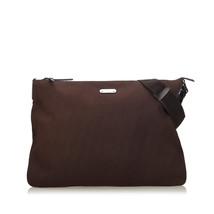 Pre-Loved Gucci Brown Dark Cotton Fabric Crossbody Bag Italy - $387.09