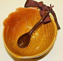 Hallmark Acorn Ceramic Serving Bowl With Twig Spoon 2pc Thanksgiving Aut... - $16.83