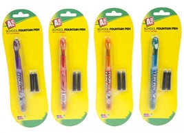 School Fountain Pen W/three Ink Cartridges On Blister Card #dib - $5.79