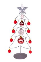 Table Top Wire Christmas Tree with Ornaments | Silver and Red Christmas ... - $7.44