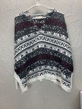 Hollister Women's Draw string Hooded Sweater Gray Aztec Poncho Style Siz... - $18.66