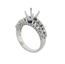 18K White Gold 0.76 CT Diamonds Semi Mount Engagement Ring Size 6.75 »N11 - £726.00 GBP