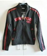 Ladies Sweater Enyce Black with Red Letters 2 pockets Size M    - $38.12
