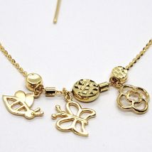 18K YELLOW GOLD NECKLACE, FLOWER, DAISY, BUTTERFLY, BEE PENDANT, MADE IN ITALY image 4