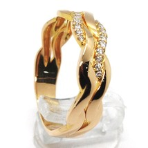 SOLID 18K ROSE GOLD BAND RING, DIAMONDS CT 0.16, WAVE, ONDULATE, BRAID image 2