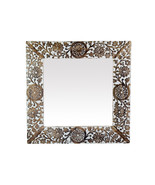Decorative Hand Carved Round Wall Mirror in Shabby White Finish. Size : ... - $46.39