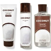 3 Pc Bath & Body Works Coconut Set New with Coconut Oil. Body Mist, Crea... - $28.04