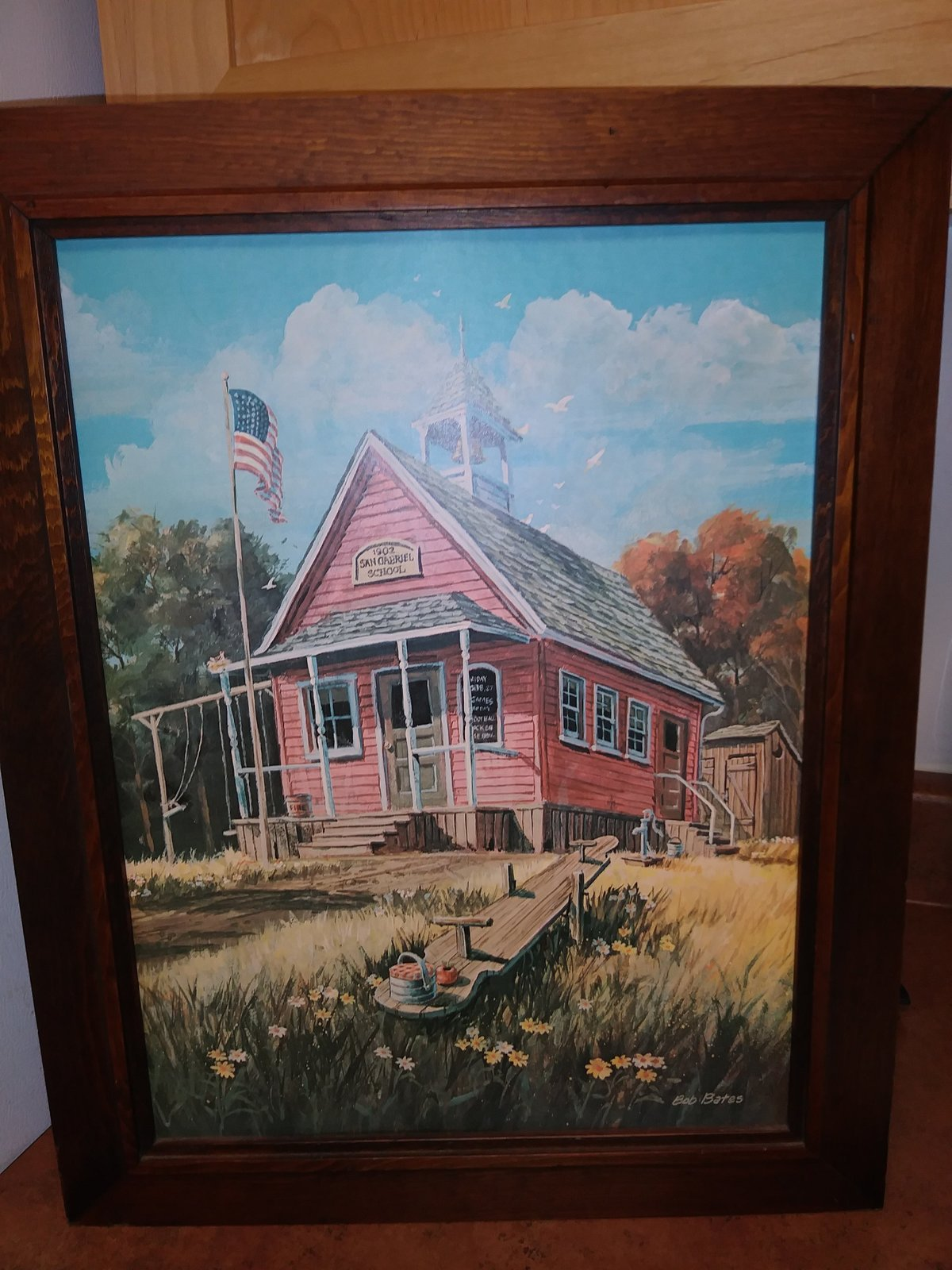 Bob Bates 1902 San Gabriel School Frame Features Beautiful Knotty Pine Art Work