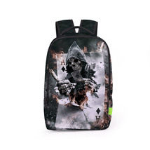 poker skull personality fashion leisure young student school bag - $26.00