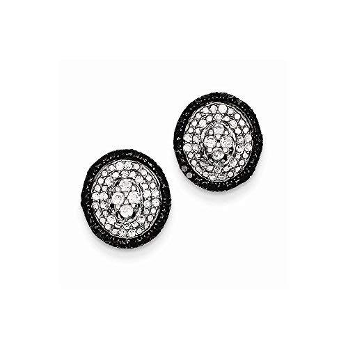 Primary image for Sterling Silver White & Black Cluster Diamond Post Earrings