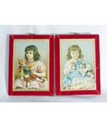 Vintage plaque wall decor nostalgia 1880 print two girls Victorian set of 2 - $29.69