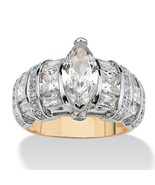4.18 TCW CZ 18k Gold over .925 Sterling Silver Ring - $69.82