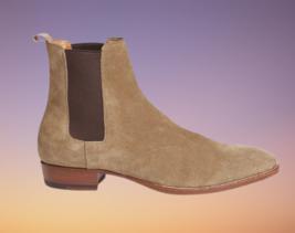 Handmade Men Chelsea Beige High Ankle Boots image 3