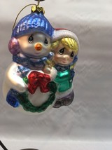 **Precious Moments 'Girl With Snowman'-Blown Glass Ornament #712018 CHRI... - $9.89