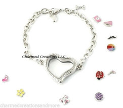 5pc Wholesale Lot Reversible Crystal Heart Floating Charm Memory Locket Bracelet - $34.60
