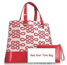 2pc Estee Lauder Ruby Red Knotted Tote Bag w/ Wristlet - $15.83