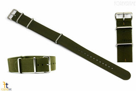 22mm Heavy Duty High End Olive Green Woven Fits Hamilton Watch Band 3 Loops - $18.66