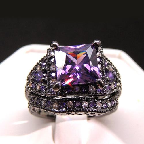 Princess Cut Amethyst 14k Black Gold Plated 925 Silver Bridal Wedding Ring Set