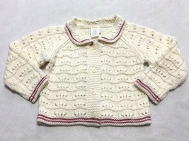 Gymboree Sitting Pretty 18 24 Month Cream Red Pink Trim Cardigan Sweater - $9.99