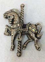 Danecraft Carousel Horse Brooch Pin Aurora Borealis Rhinestones Purple Saddle - $9.89