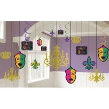 Mardi Gras Chandelier Decorating Kit Masks Swirls Fleur De Lis - $13.99