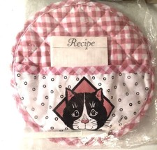 Vintage Cat Recipe Card Potholder Quilted Pink White Checkered  - $7.86