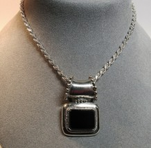 """Sterling Silver Black Onyx Stone Slide Pendant Rope Chain 18"""" Necklace 2... - $74.24"""