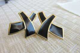 Elegant Black Enamel X Earrings Pierced Gold Plate Signed Monet Vintage - $13.50