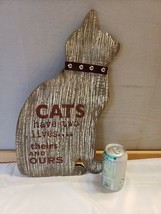 Ganz Woodstock Cat Wall Plaque Art Sign Cats Have Two Lives Theirs and Ours FS - $25.73
