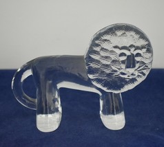 Vintage KOSTA BODA Sweden Glass Lion Paperweight Erik Hoglund Zoo Series  - $24.95