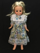 Vintage 1971 Ideal Toy Growing Hair Doll Blonde Wearing a Lace Floral Dress - $33.96