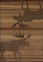"""5x8 (5'3"""" x 7'6"""" ) Designer Lodge Cabin Moose Plush Carved Area Rug - $179.00"""