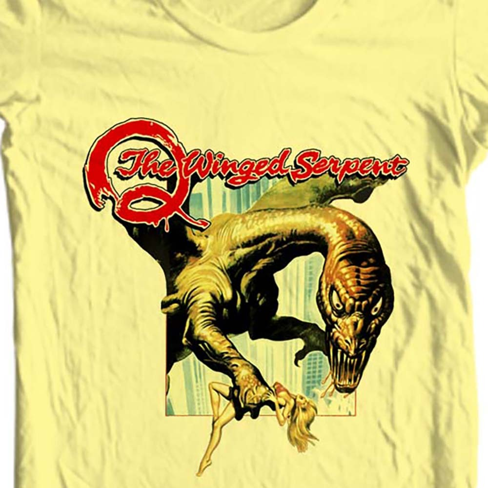 Q the winged serpent movie t shirt retro horror sci fi online store for sale yellow tee