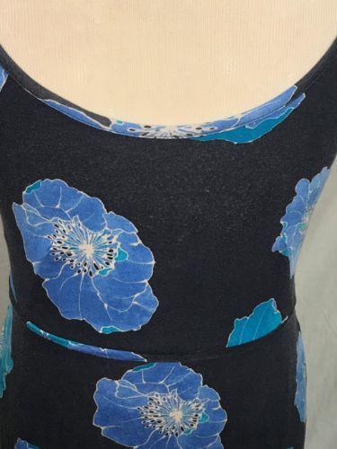 Loft Navy Blue Floral Print Spaghetti Strap Pocketed Maxi Dress M