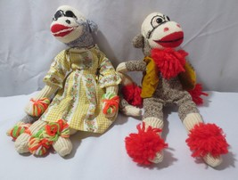 "Vintage Pair 15"" Handmade 1970 Yarn Felt Vest Dress Stuffed Animal Sock ... - $45.00"