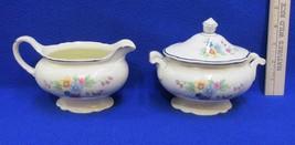 Homer Laughlin Creamer & Sugar Set with Lid Virginia Rose Pattern Antique China - $24.74