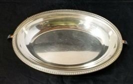 """Vintage Silverplate Oval Serving Bowl w Handles Ribbed Lip Dish 10""""x7.25""""  - $16.44"""