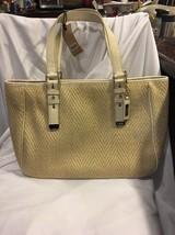 Cole Haan Kendra Herringbone Straw Soft Tote Bag Gold Leather Purse Shoulder - $116.88