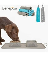 Bowls Collapsible Dog Double With Antislip Mat Portable Nontoxic Silicon... - $32.10