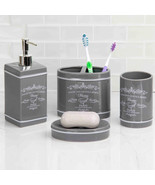 Home Basics Paris Gray Ceramic Bathroom Accessories 4 Piece Set - $25.19