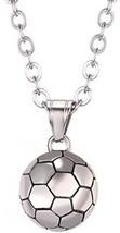 U7 Soccer Pendant Necklace Stainless Steel Chain Boys Girls Sport Fan Gift - $25.38