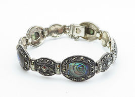 925 Sterling Silver - Vintage Abalone Shell & Marcasite Chain Bracelet - B6062 image 3