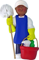 House Cleaner Male African-American Personalized Christmas Tree Ornament - $19.95