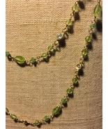 Peridot & CZ Long Necklace - $120.00