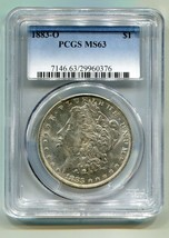 1883-O MORGAN SILVER DOLLAR PCGS MS63 WHITE ORIGINAL COIN PREMIUM QUALIT... - $72.00