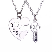 2 Pcs/set Friendship Heart Key Pendant Necklaces Silver Chain BEST FRIEND Couple - $9.78
