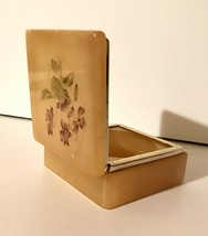 Italian Yellow Square Lefton Alabaster Floral Vintage Jewelry Trinket Box - $24.75