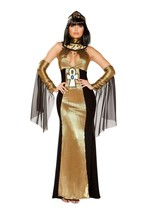 Roma Queen Of Egyptian Goddess Metallic Gold & Black Long Dress Costume ... - $74.99